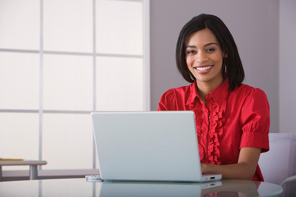 Woman learning online